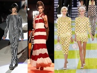Sommermode 2013 bei Marc Jacobs, Jean Paul Gaultier und Louis Vuitton (Quelle: imago/I Images (l), A Press (m), A Press (r))