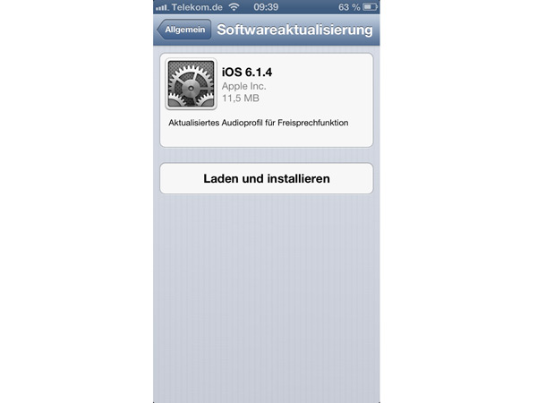 Screenshot Softwareupdate iOS 6.4.1 von Apple (Quelle: t-online.de)