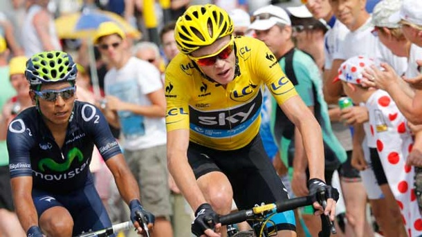 Tour de France 2013: Zweifel an Christopher Froome wachsen. Chris Froome (re.) im Anstieg zum Mont Ventoux. (Quelle: dpa)