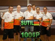 Das Force-India-Team feiert den 100. Grand Prix von Adrian Sutil (Mi.). (Quelle: xpb)