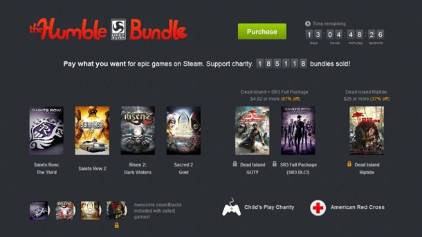"Humble Bundle mit Risen 2, Metro 2033 und Saints Row im Angebot. Das Humble ""Deep Silver"" Bundle (Quelle:  Humble Bundle, Inc. )"