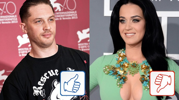Tom Hardy & Katy Perry - Top & Flop des Tages. Tom Hardy & Katy Perry (Quelle: dpa)