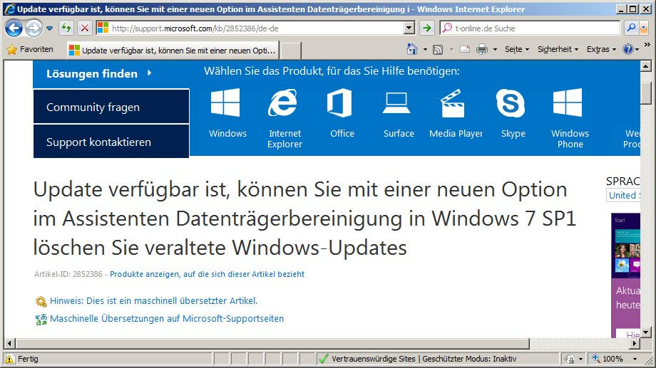 Download-Seite für den Windows-Patch KB2852386 (Quelle: t-online.de)