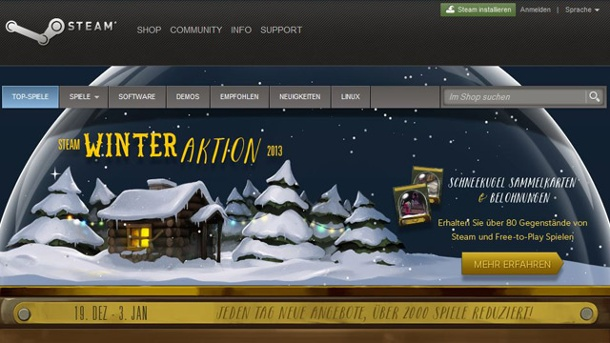 Steam Winter-Sale 2013 gestartet. Steam-Sale Winter 2013 (Quelle: Valve)