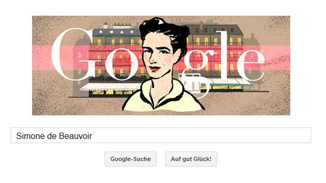 simone de beauvoir google doodle f r die pariser feministin. Black Bedroom Furniture Sets. Home Design Ideas