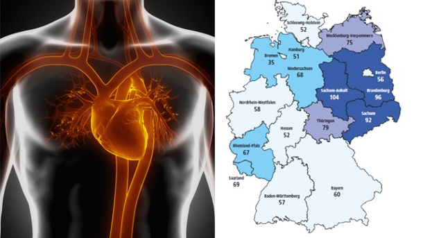 Herzkrankheiten gehören zu den häufigsten Todesursachen in Deutschland . Herzinfarkt: Höheres Sterberisiko in den neuen Bundesländern.  (Quelle: Thinkstock by Getty-Images, Deutsche Herzstiftung )