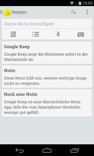 Google Notizen (Quelle: Screenshot)