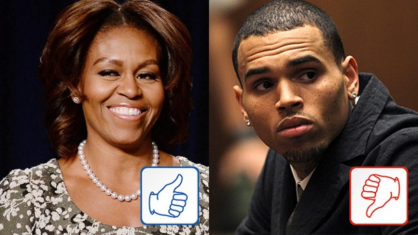 Top & Flop des Tages: Michelle Obama und Chris Brown. Michelle Obama, Chris Brown (Quelle: Reuters/dpa)