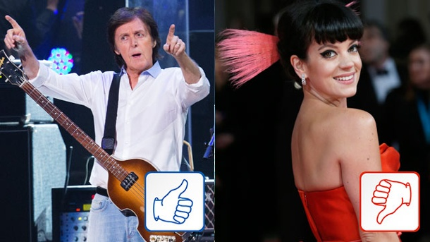 Paul McCartney & Lily Allen: Top & Flop des Tages. Paul McCartney und Lily Allen (Quelle: Reuters)