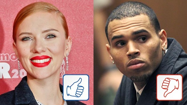 Top & Flop des Tages. Scarlett Johansson und Chris Brown (Quelle: dpa)
