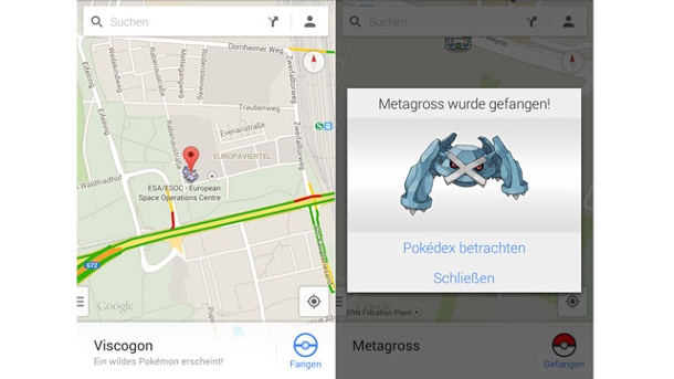 Aprilscherze: Google Maps Pokémon und die digitale Zahnspange. Pokemons bei Google Maps (Quelle: Screenshots)