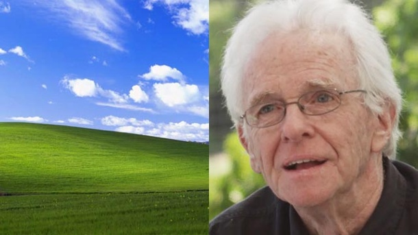 "Windows XP: So entstand das Foto für die ""Grüne Idylle"". Charles O'Rear (Quelle: Screenshot: YouTube)"
