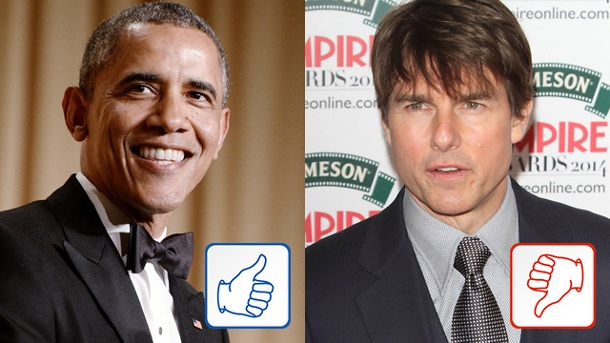 Barack Obama und Tom Cruise. Barack Obama und Tom Cruise. (Quelle: dpa/Imago)