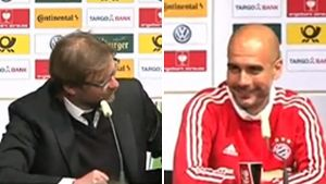 Klopp nimmt Pep Guardiola auf den Arm (Screenshot: kicker.tv)