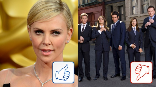 "Charlize Theron & How I Met Your Mother: Top und Flop des Tages. Charlize Theron und die Darsteller von ""How I Met Your Mother"". (Quelle: dpa)"