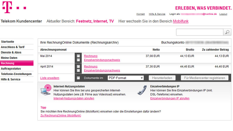 im kundencenter k nnen sie die letzten telekom rechnungen sowie die rechnungsbetr ge auf einen. Black Bedroom Furniture Sets. Home Design Ideas