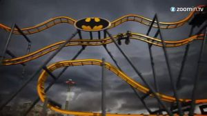 Die 4-D-Achterbahn 'Batman: The Ride' kommt im Sommer 2015 (Screenshot: Zoomin)