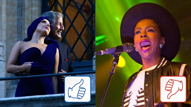 Top & Flop: Lady Gaga und Lauryn Hill. Lady Gaga (mit Tony Bennett) und Lauryn Hill. (Quelle: Reuters/dpa)
