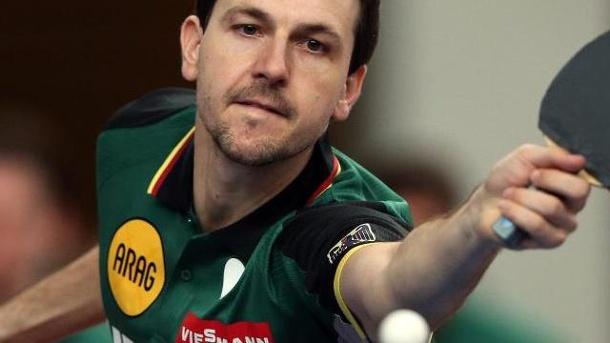 Tischtennis World Cup 2014: Boll und Ovtcharov fordern China-Asse. Timo Boll in Aktion.