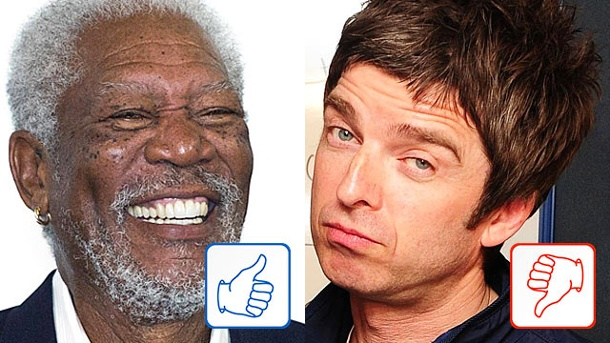 Morgan Freeman und Noel Gallagher: Top & Flop des Tages. Morgan Freeman und Noel Gallagher (Quelle: imago, dpa)
