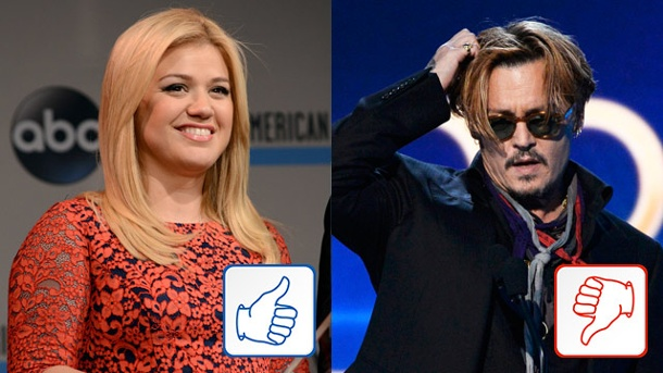 Kelly Clarkson und Johnny Depp: Top & Flop des Tages. Kelly Clarkson und Johnny Depp (Quelle: WENN/Reuters)