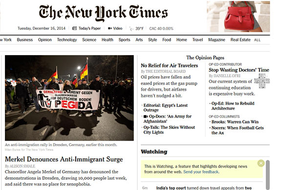 "Die Webseite der ""New York Times"". (Quelle: Screenshot: t-online)"