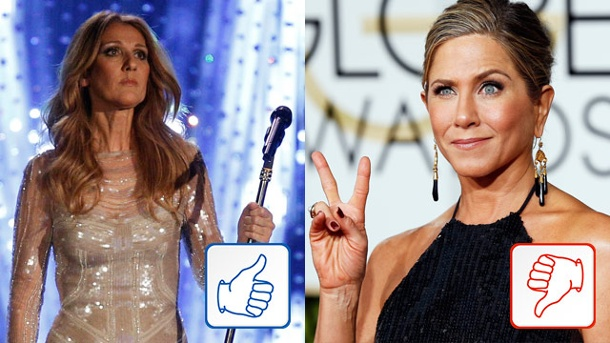 Céline Dion und Jennifer Aniston: Top & Flop des Tages. Céline Dion und Jennifer Aniston (Quelle: Reuters)