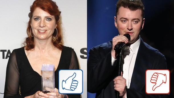 Top & Flop des Tages: Monica Lierhaus und Sam Smith. Monica Lierhaus und Sam Smith (Quelle: imago Futurimage / AP)
