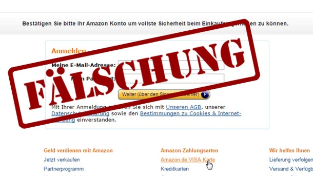 Amazon: Neue Phishing-Methode verunsichert Nutzer. Screenshot der imitierten Anmeldeseite von Amazon. (Quelle: Screenshot: Retarus)