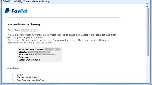 paypal phishing mails k dern mit vorratsdatenspeicherung. Black Bedroom Furniture Sets. Home Design Ideas