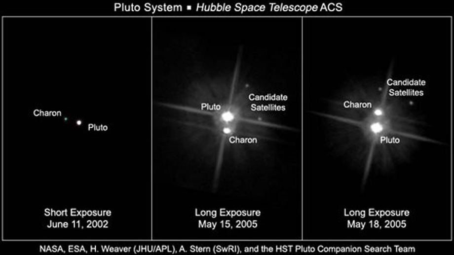 (Quelle: NASA, ESA, H. Weaver (JHU/APL), A. Stern (SwRI), and the Hubble Space Telescope Pluto Companion Search Team)