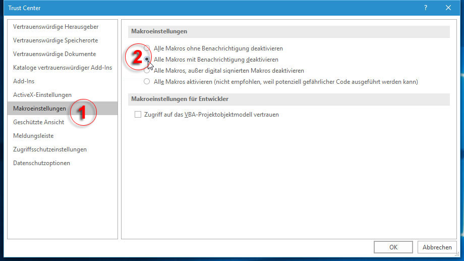 Makroeinstellungen in Office 2016 (Quelle: t-online.de)