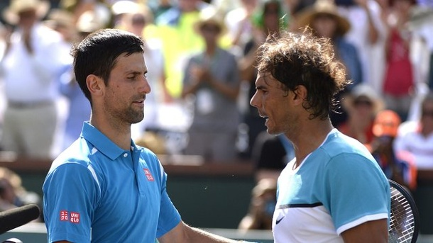 Tennis: Djokovic zum sechsten Mal im Endspiel von Indian Wells. Novak Djokovic (l) besiegte Rafael Nadal in Indian Wells.