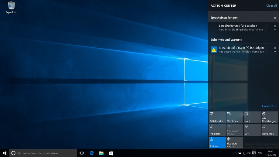 Info-Center in Windows 10 (Quelle: t-online.de)