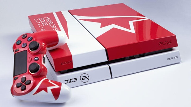 PS4 im limitierten Mirror's-Edge-Catalyst-Design gewinnen. Sony PS4 im Mirror's Edge Catalyst Design by Customized (Quelle: EA)