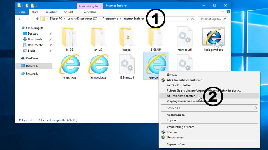 Internet Explorer 11  in Windows 10 zurückholen. (Quelle: t-online.de)