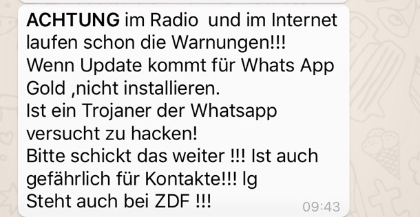 Dieser WhatsApp-Kettenbrief warnt vor WhatsApp Gold. (Quelle: t-online.de/Screenshot)