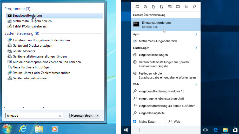 Eingabeaufforderung in Windows 7 und Windows 10. (Quelle: t-online.de)