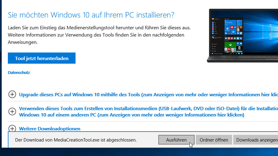 Setup-Assistent für Windows 10 starten. (Quelle: t-online.de)