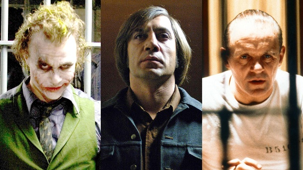 "Böser geht nicht - Die 20 größten Filmschurken. Heath Ledger in ""The Dark Knight"", Javier Bardem in ""No Country for Old Men"" und Anthony Hopkins in ""Das Schweigen der Lämmer"" (l-r). (Quelle: Imago/UPI Photo/United Archives)"