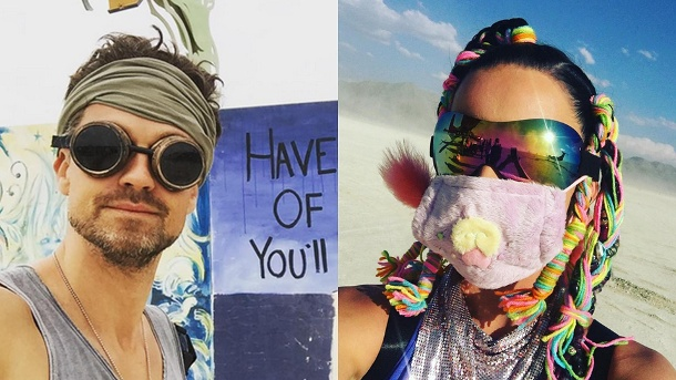 """Burning Man"" 2016: So wild feierten die Stars in der Wüste Nevadas. Wayne Carpendale und Katy Perry beim ""Burning Man""-Festival. (Quelle: Instagram / Wayne Carpendale / Katy Perry)"