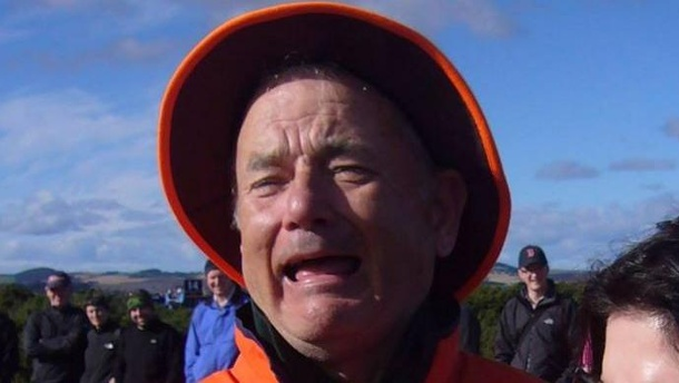 Tom Hanks oder Bill Murray? Rätseln um Facebook-Foto. Bill Murray zieht eine Grimasse, und sieht urplötzlich aus wie Tom Hanks. (Quelle: Facebook/Reasons My Son Is Crying)