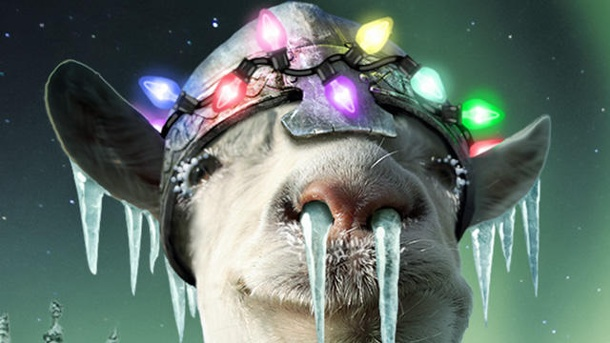 "Goat Simulator: Gratis-Update ""Winter, or Whatever"" ist da. Goat Simulator: Auch im Winter schlägt der anarchische Paarhufer im Gratis-Add-on ""Winter, or Whatever"" (WoW) gnadenlos zu. (Quelle: Coffee Stain Studios)"