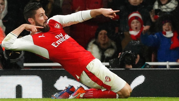 Giroud-Tor hier im Video! FC Arsenal rückt in Premier League vor. In Jubelpose: Olivier Giroud erzielte beim Sieg gegen Crystal Palace ein Traumtor für den FC Arsenal. (Quelle: Reuters)