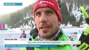 Deutsche Biathlon-Mixedstaffel feiert WM-Gold. (Screenshot: SID)