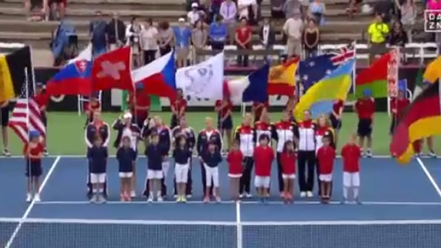 Hymnen-Eklat beim Fed Cup auf Maui. (Screenshot: Perform/ePlayer) (Quelle: (Screenshot: Perform/ePlayer))