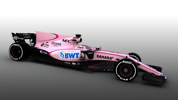 Force India F1 Team im Porträt. Sahara Force India F1 VJM10 Livery Reveal (Quelle: Force India)