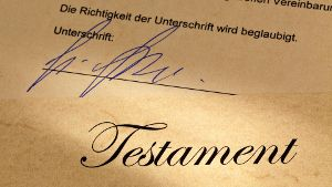 Testament in deutscher Sprache mit Signatur