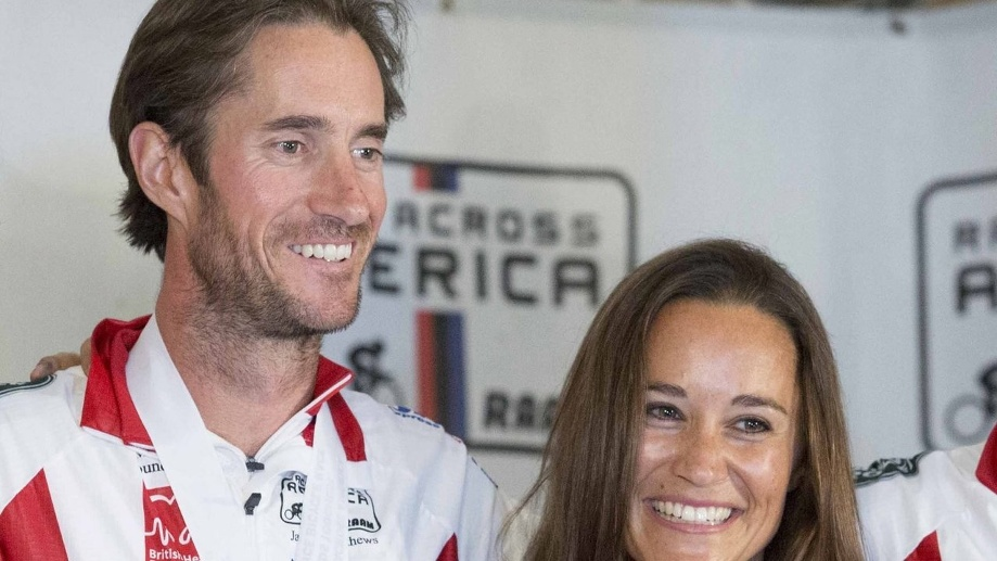 "Pippa Middleton und James Matthews nach dem Fahrradrennen ""Race Across America"" 2014 in Annapolis, Maryland, USA. (Quelle: dpa/Drew Angerer)"