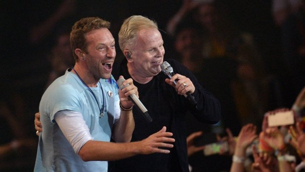 G20 - Global-Citizen-Festival: Emotionaler Pop-Gipfel. Ein Duett der Spitzenklasse: Chris Martin (l) und Herbert Grönemeyer.